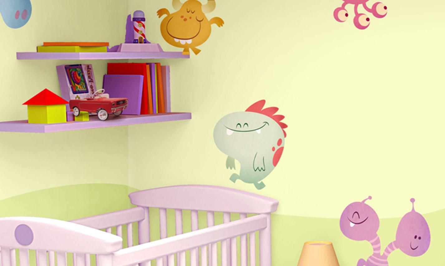Stickers murali bambini cameretta arrivano i mostri - Adesivi per mobili bambini ...